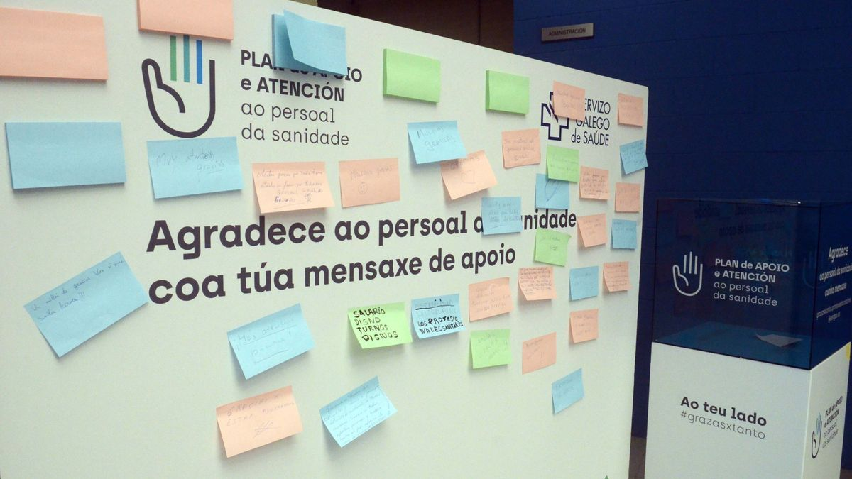Cartel con mensajes de apoyo a los sanitarios en Fexdega
