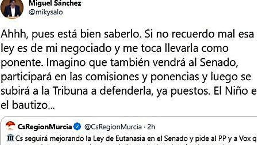 El 'zasca' del senador Miguel Sánchez a Martínez Vidal