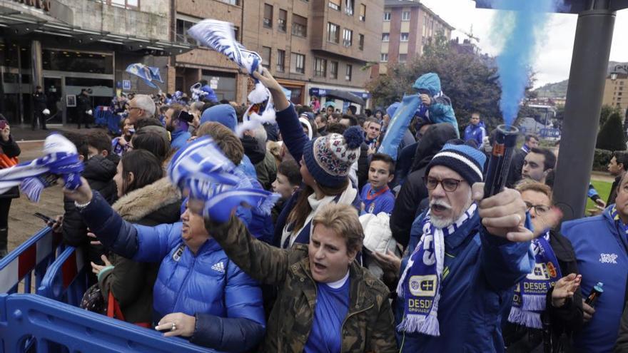 Derbi asturiano: Llegada del Real Oviedo al Tartiere
