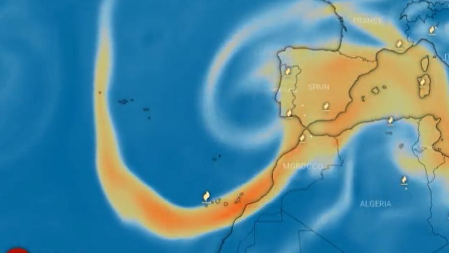 La nube de azufre del volcán de La Palma llegará hasta Zamora