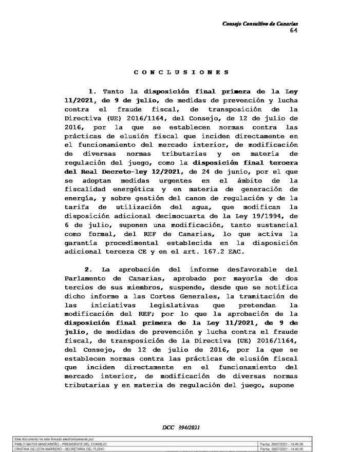 El Consultivo ve inconstitucional el desprecio al REF del Gobierno central   LP/DLP