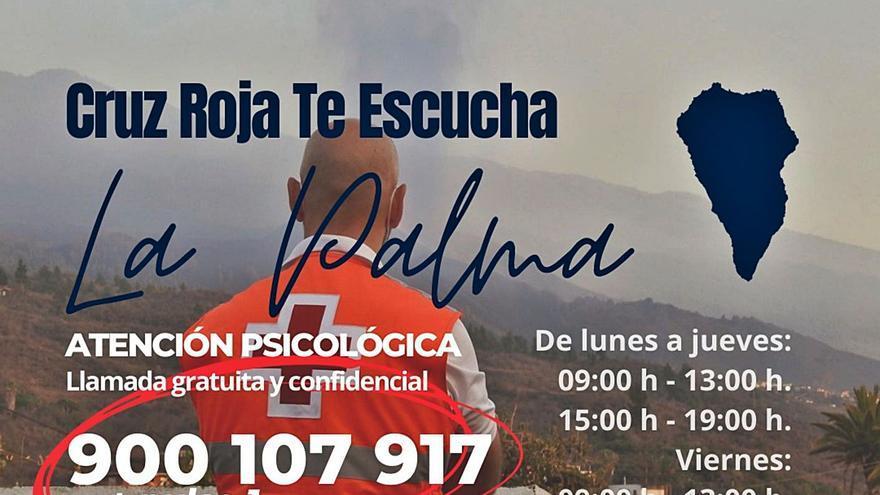 Cruz Roja ofrece apoyo psicológico por teléfono a los afectados por el volcán de La Palma