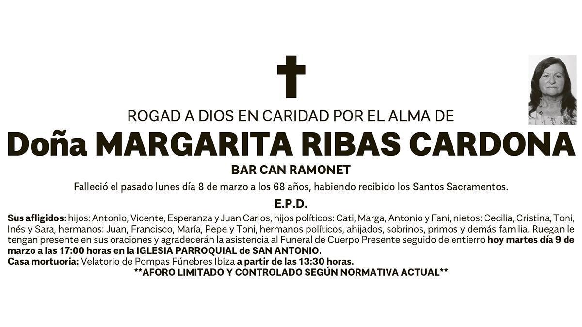 Esquela Margarita Ribas Cardona