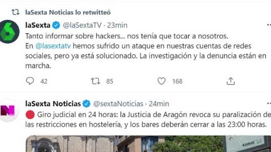 Varias cuentas de Twitter de La Sexta, hackeadas