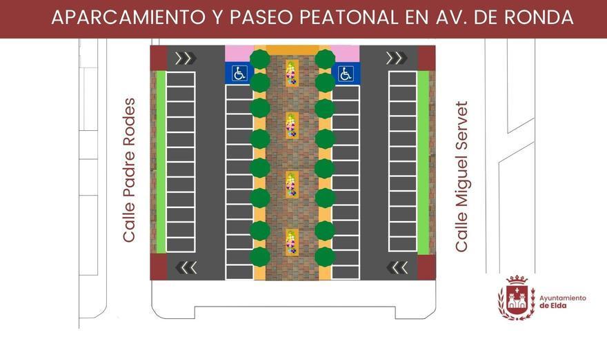 Elda crea 56 nuevas plazas de aparcamiento público junto a la iglesia de San Pascual