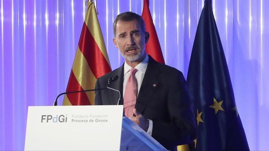 """El Rey Felipe VI reafirma su """"compromiso con los valores de Cataluña"""" en Girona"""