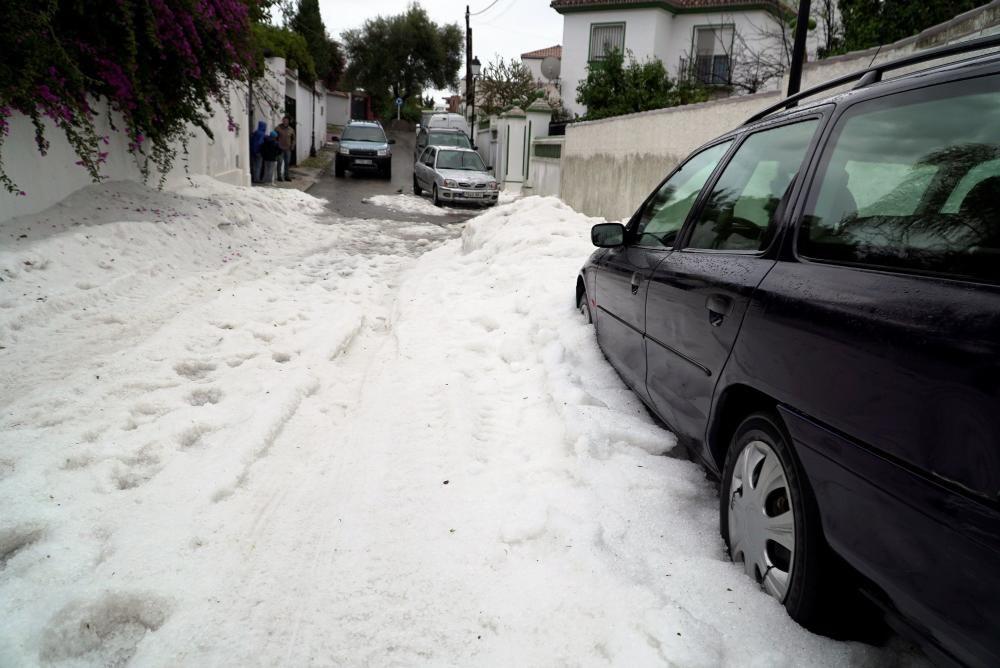 Granizo en Marbella, caída en la madrugada del sábado.