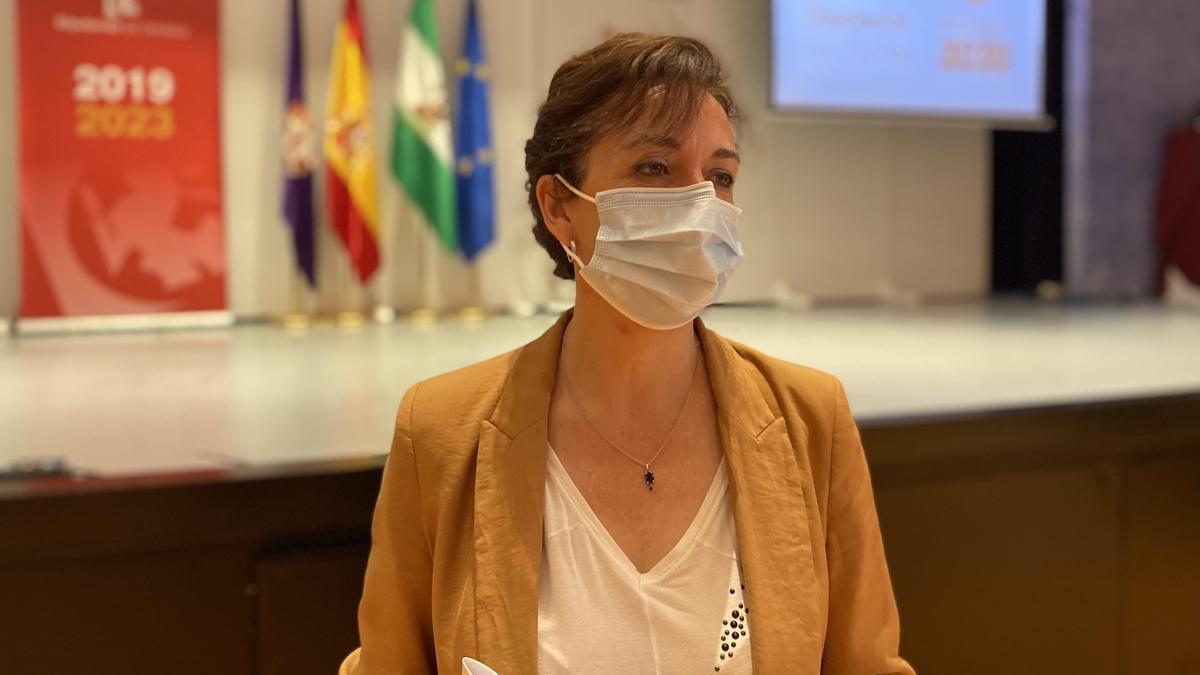 La portavoz del PP en la Diputación, María Luisa Ceballos, durante su intervención.