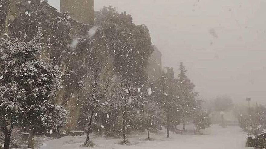 Una nevada intensa deixa Queralt ben emblanquinat