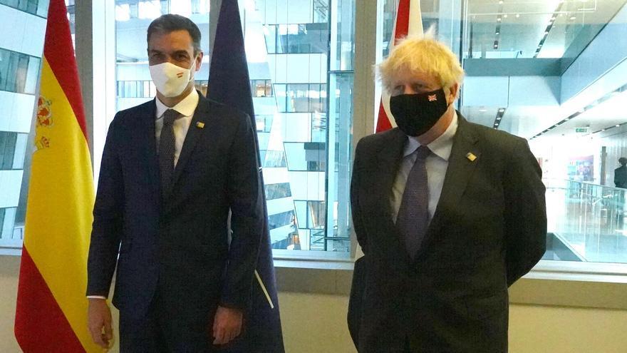 Reunión bilateral en la OTAN entre Pedro Sánchez y el primer ministro británico Boris Johnson