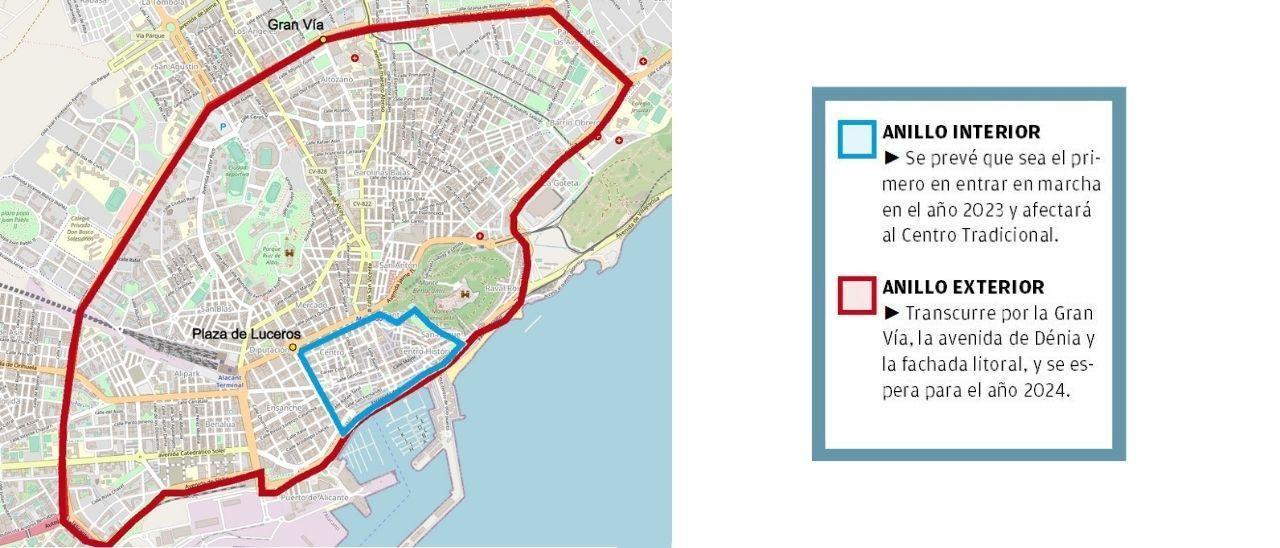 Así será la Zona de Bajas Emisiones de Alicante