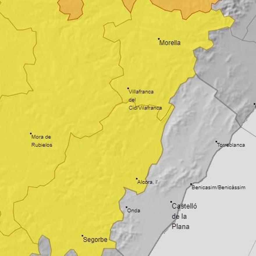 Aviso amarillo por lluvias en el interior de Castellón