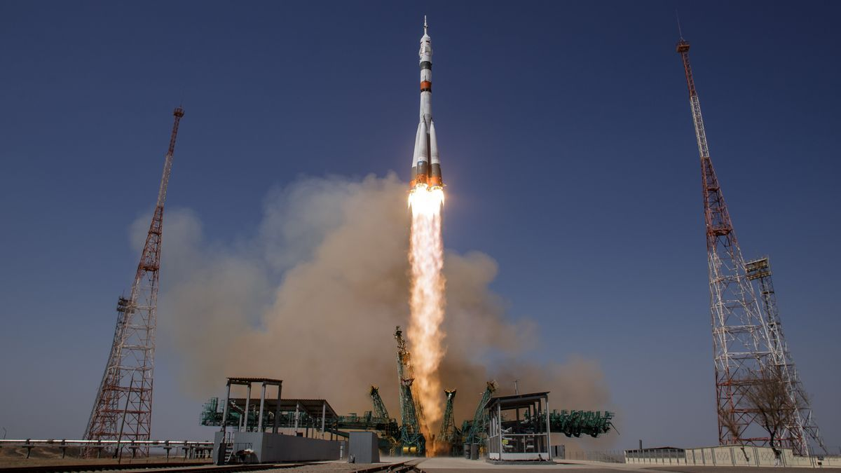 Takeoff of the Russian manned Soyuz MS-18 spacecraft