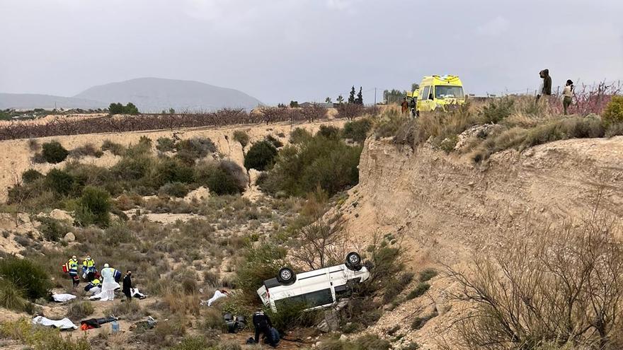 Nueve trabajadores del campo heridos en un accidente de tráfico en Fortuna