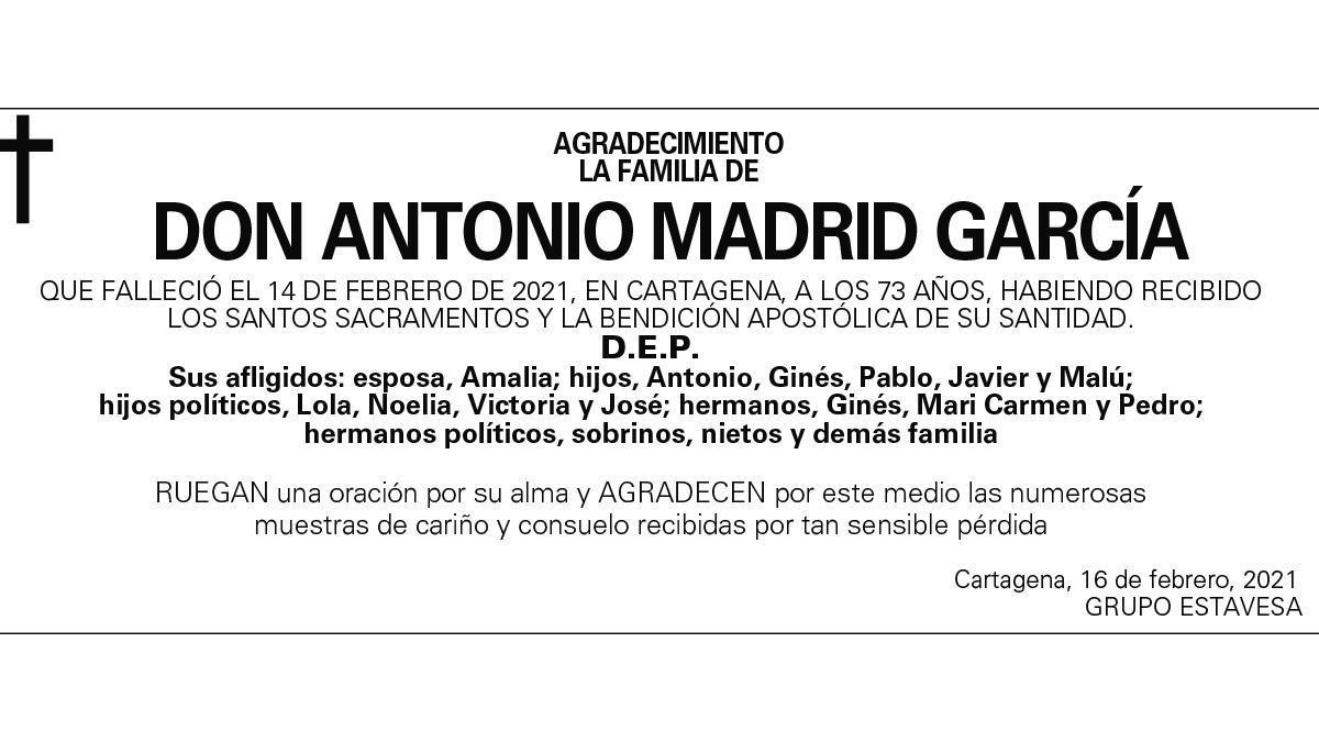 D. Antonio Madrid García (Agradecimiento)