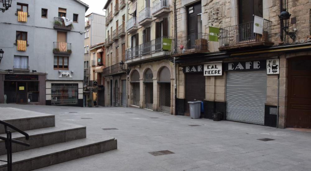 Plaça de Sant Joan de Berga  el 14 de març del 2020