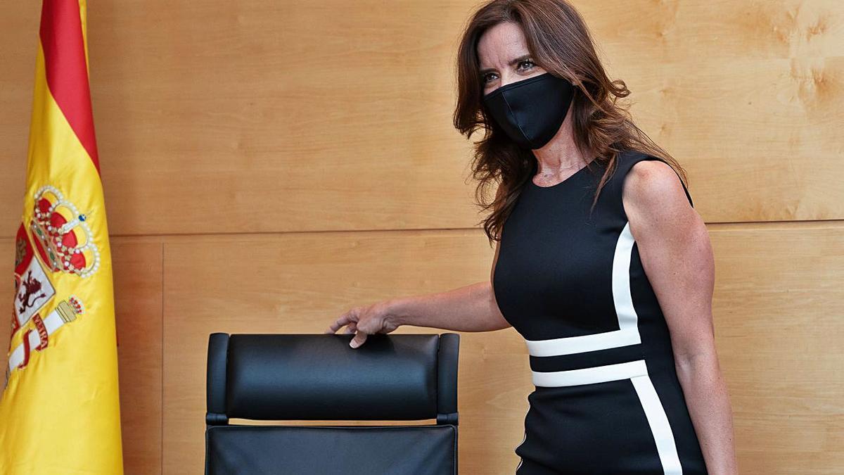 La consejera de Empleo e Industria, Carlota Amigo, durante una rueda de prensa. | Ical