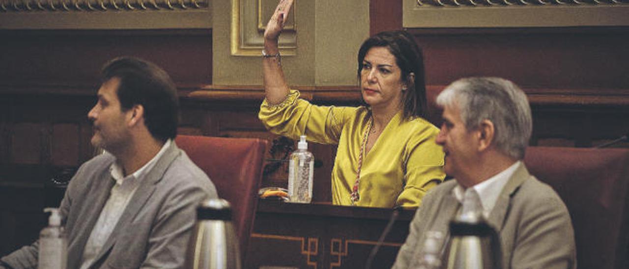 La nueva concejal de Cs en la capital, Evelyn Alonso, divide el voto de su formación y, por lo tanto, del grupo de Gobierno, en el pleno celebrado ayer