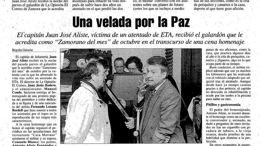 """El comandante, distinguido como """"Zamorano del mes"""" por LA OPINIÓN-EL CORREO DE ZAMORA en 1997"""