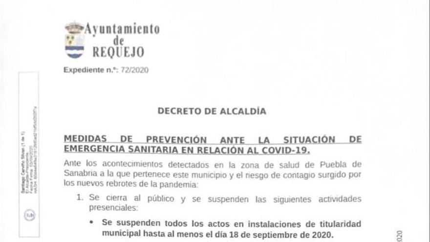 Requejo cierra espacios públicos por la situación del COVID en Sanabria