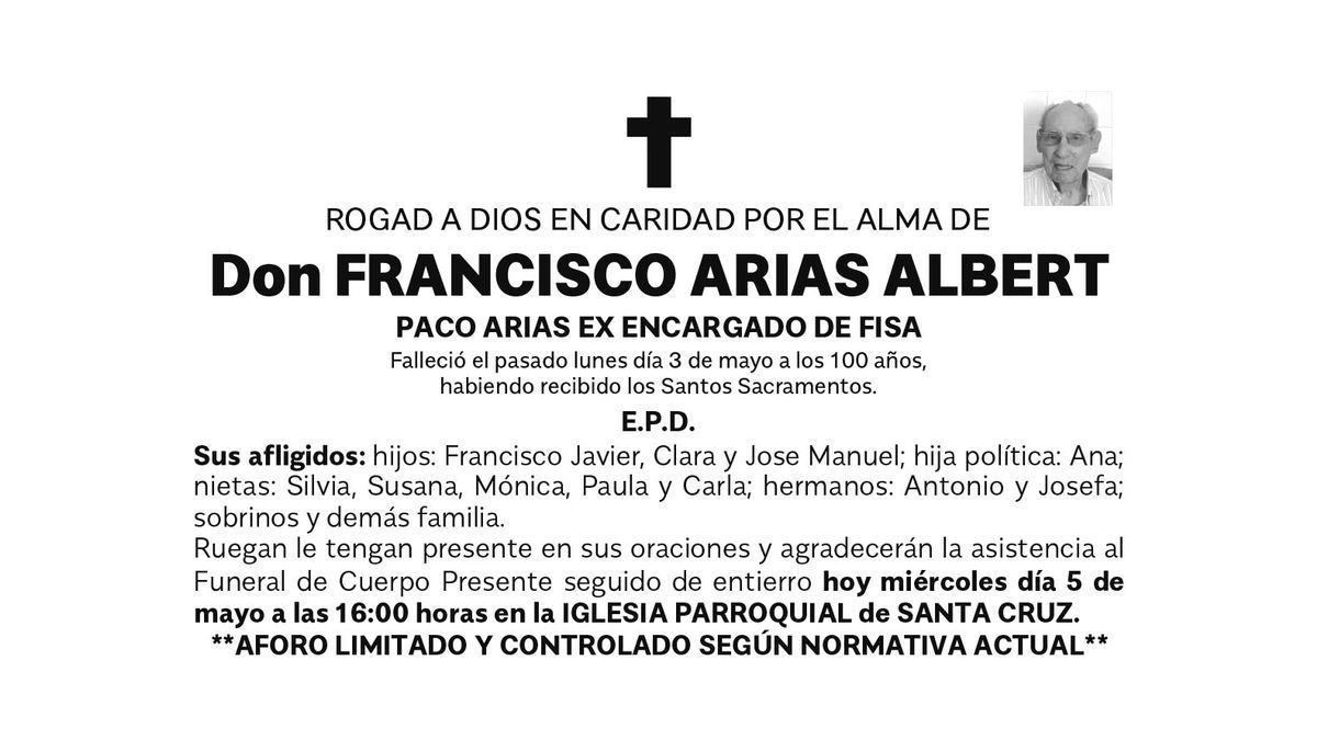 Esquela Francisco Arias Albert