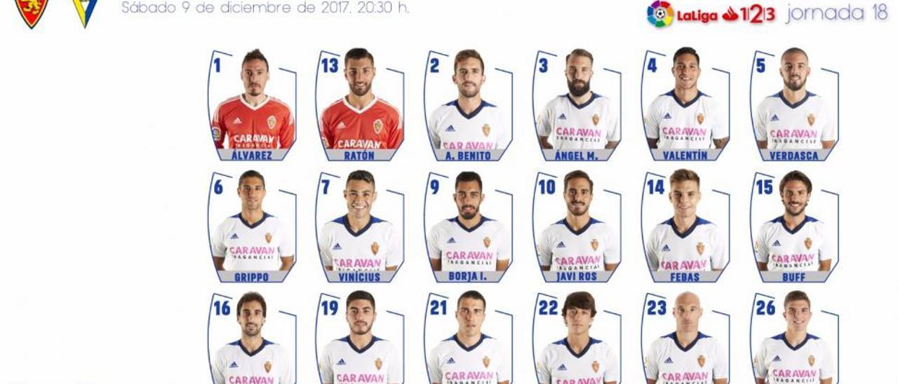 Los 18 citados contra el Cádiz