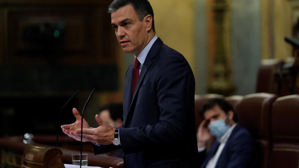 El presidente del Gobierno de España, Pedro Sánchez, durante la sesión al control del Gobierno.