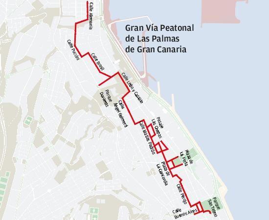 Una gran vía peatonal conectará Triana y Alcaravaneras a través de 27 calles