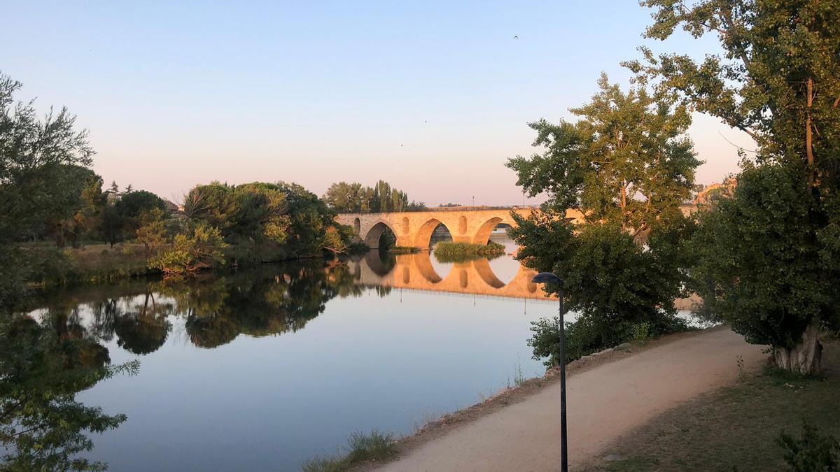 El puente de piedra de Zamora, esta mañana.