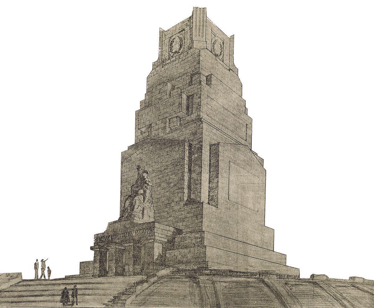Boceto del monumento, publicado en 'El Pueblo Gallego' en 1926