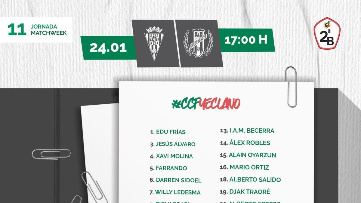 El Córdoba CF, con Salido y sin Valverde para medirse al Yeclano