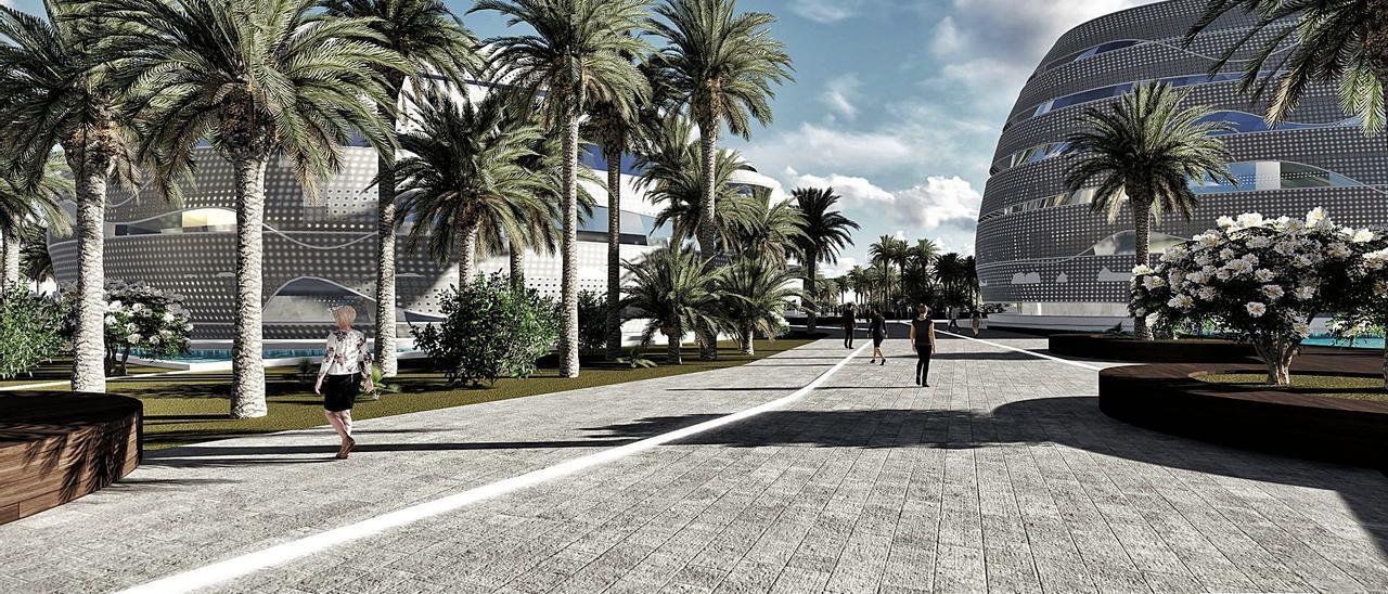 Infografía de una de las zonas que acogerá los estudios cinematográficos de la futura 'Ciudad del Cine', en el municipio de La Oliva.