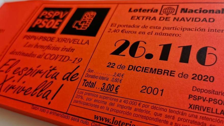 El PSPV de Xirivella donará el beneficio de la lotería de Navidad a la lucha contra el virus