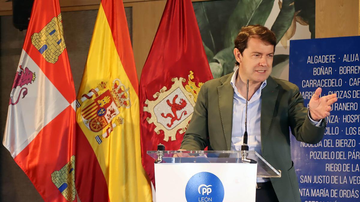 El presidente de la Junta y del PP de Castilla y León Alfonso Fernández Mañeco, ayer en León