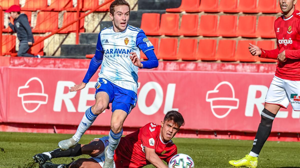 Marc Aguado, en el partido de Copa ante el Nástic con el Real Zaragoza en la 19-20