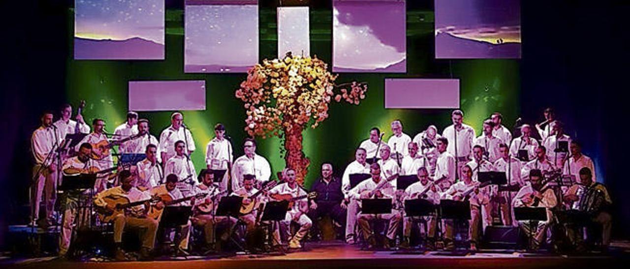 La parranda Araguaney en una de sus actuaciones con el árbol que les pone nombre, como decorado, hecho por uno de sus miembros.