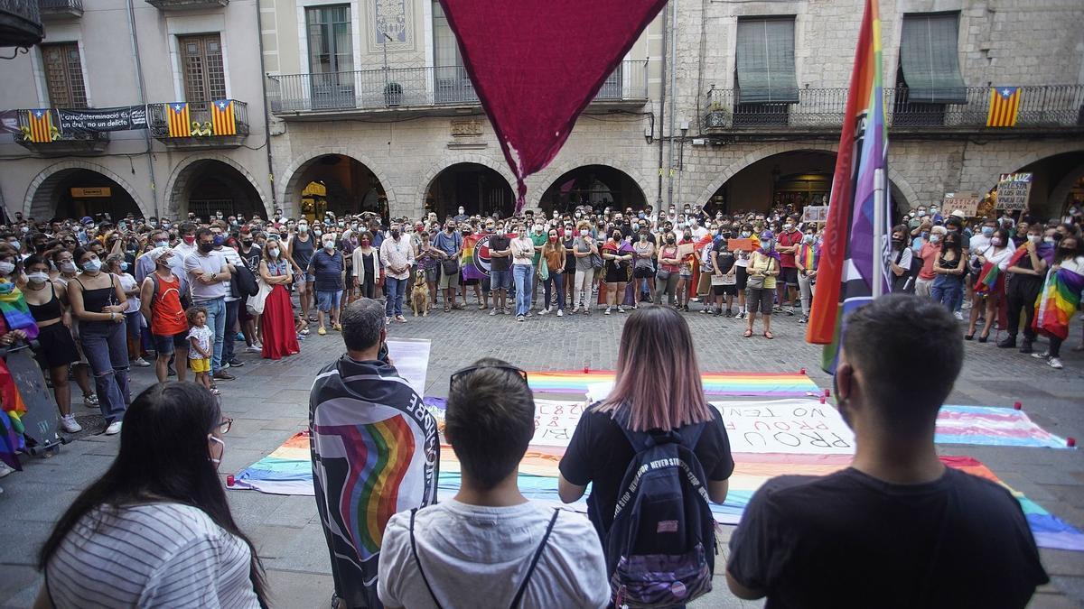 Imatge d'arxiu d'un acte a Girona per condemnar la mort de Samuel Luiz