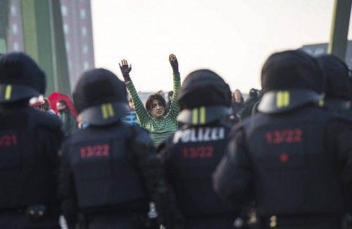 PROTESTA DE BLOCKUPY ANTE LA SEDE DEL BCE