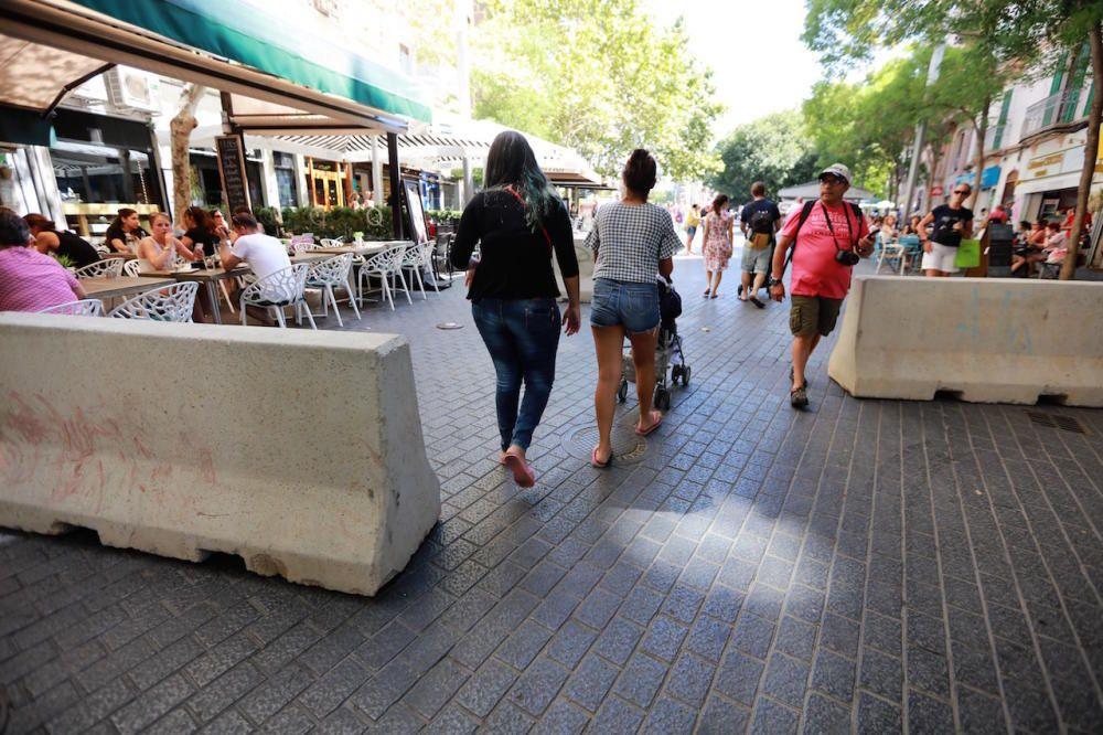 Am Freitag (18.8.) wurden im Zentrum von Palma de Mallorca Betonbarrieren und schwere Blumenkübel als Anti-Terror-Schutz in Position gebracht.