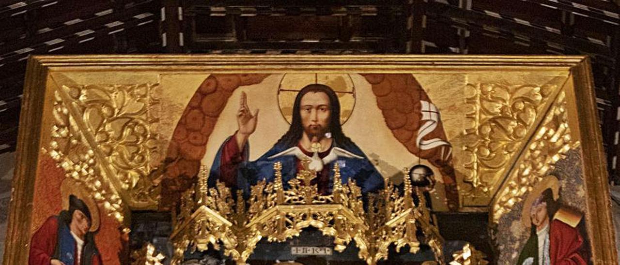 Estado de la tabla superior del retablo, en una foto de ayer   PERALES IBORRA
