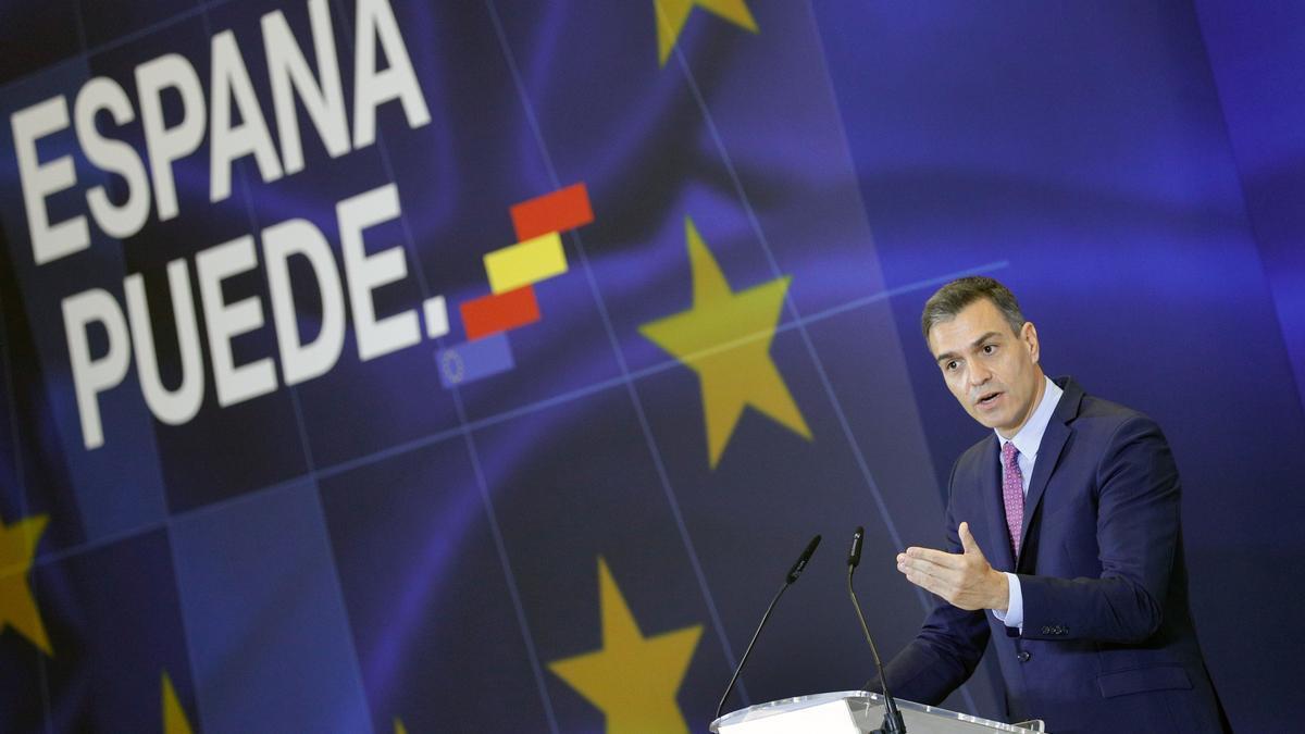Pedro Sánchez durante la presentación del Plan