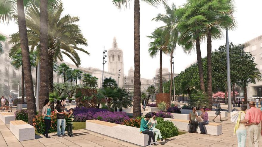 La plaza de la Reina tendrá un bosque urbano, toldos y difusores contra el calor