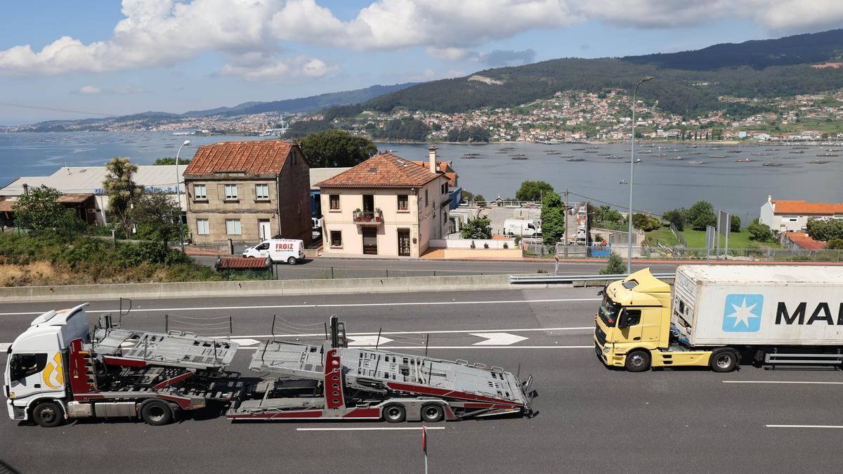 Tramo de AP-9 en el acceso a Vigo.