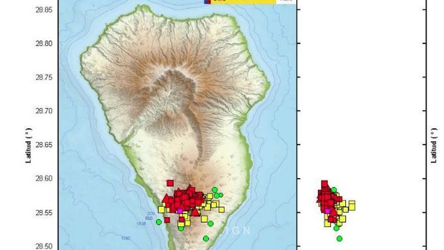 El magma se mueve en las entrañas de La Palma y eleva el suelo 1,5 centímetros