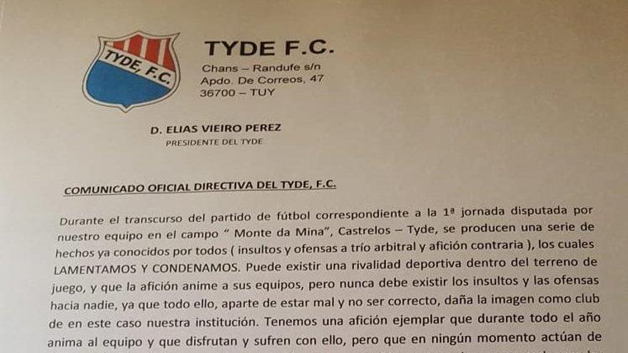 La directiva del Tyde condena los actos cometidos por un grupo de seguidores