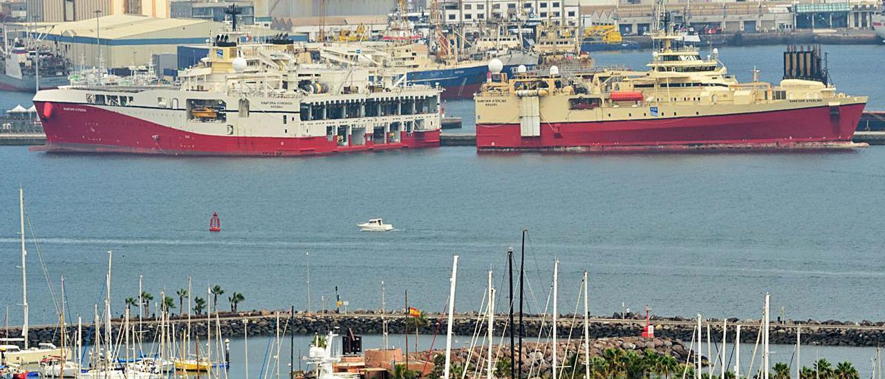 Dos barcos 'Ramform', atracados en el Puerto de Las Palmas durante una escala consignada por Canarship. | | TONY HERNÁNDEZ