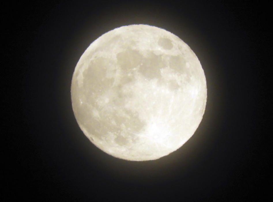 Lluna plena. Espectacular imatge d'aquesta passada nit de la lluna completament circular i amb gran lluminositat en el primer dia de la seva fase lunar anomenada lluna plena o pleniluni.