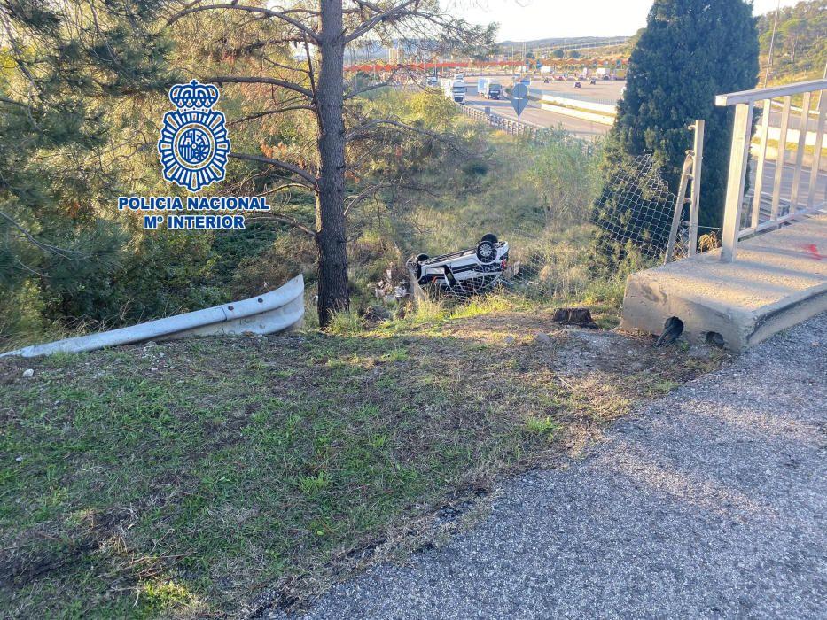 La persecució d''un traficant entre la Jonquera i Agullana acaba amb 2 vehicles bolcats