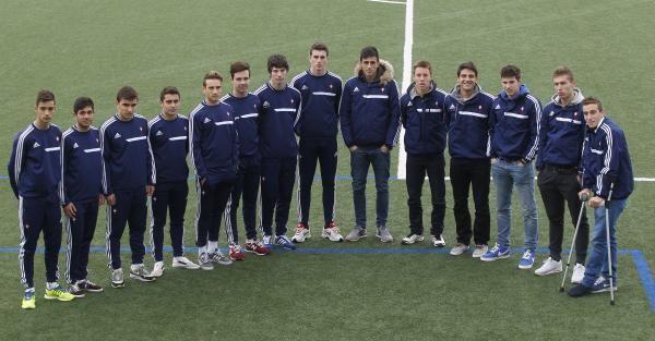 Iván Villar (con David Costas a su izqda), en el centro de la foto que muestra todos los canteranos del Celta que en 2014 fueron convocados para la selección en sus categorías inferiores.