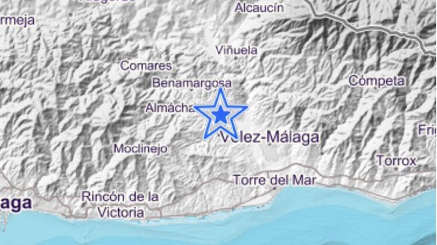 Registrado un terremoto de magnitud 2,9 en Benamocarra
